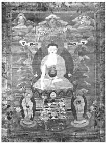 Будда, 16 архатов и локапалы