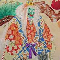 кимоно учикакес мифологической сценой